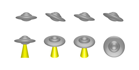 galactic: UFO, alien ship, a breathtaking beam, vector illustration, different camera angles, isometric, isolated on white background. Stock Photo