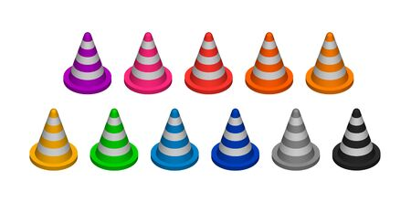 Cone fencing. Set of multicolored three-dimensional objects. Vector illustration. Design elements for the reconstruction. EPS10.