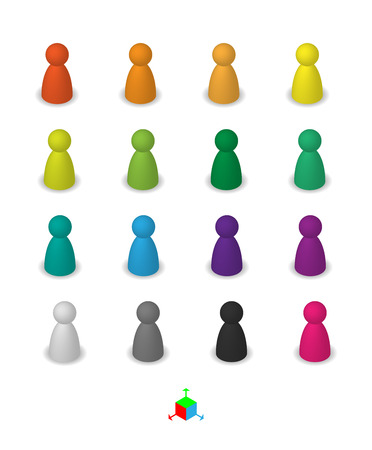 Different leisure game pawn figures, concept for diverse group of people. Cutout, isolated on white. Vettoriali