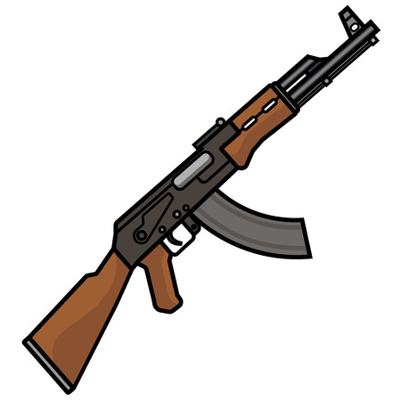 The Kalashnikov assault rifle, Machine gun, assault rifle, flat.
