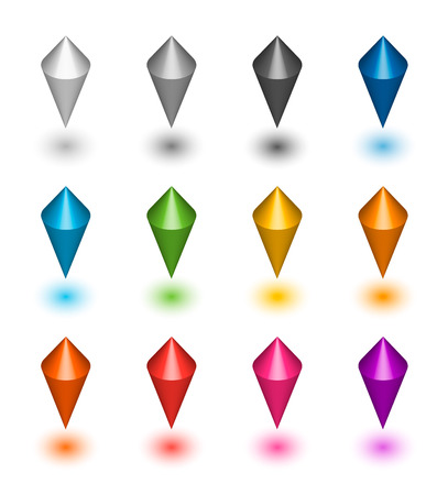 map markers, set, vector illustration, colorful, spinning tops, index