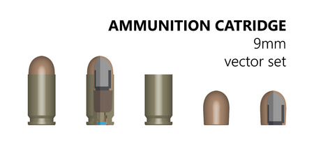 munition: Single bullet. 9mm bullet on a white background. Stock illlyustratsiya. Design element. The three-dimensional object from different angles. The cartridge in the section. The structure of the munition.