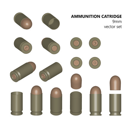 munition: Single bullet. 9 mm bullet on a white background. AMMUNITION. Stock illlyustratsiya. Design element. The three-dimensional object from different angles.