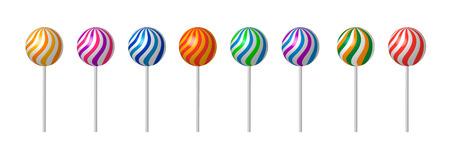 Lollipop met Stick Sugar Candy achtergrond. Zoet eten. Vectorillustratie van vallende Lollipops kleur voor pakket Vector Illustratie