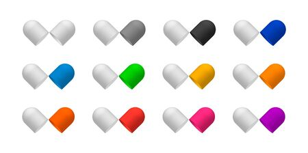Case pill capsules opened in two glossy halfs. Isolated. Vector illustration. Colorful set.