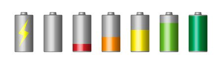 Vector set of 3D battery. To charge and discharge the power supplies. Stock illustration of. Isolated on white. Icon. Indicator. Иллюстрация