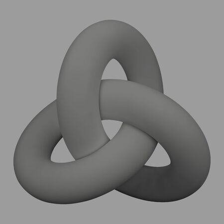 gray 3d squiggle, geometrical figure, Vector illustration