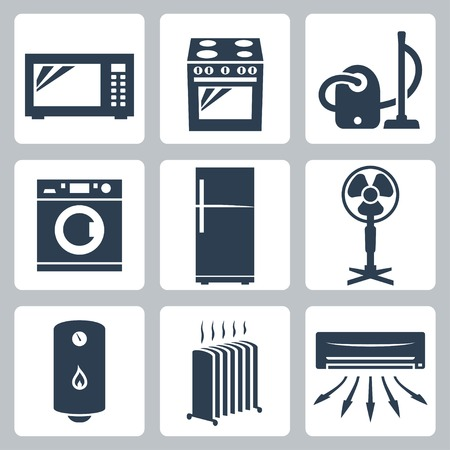 major: Vector major appliances icons set