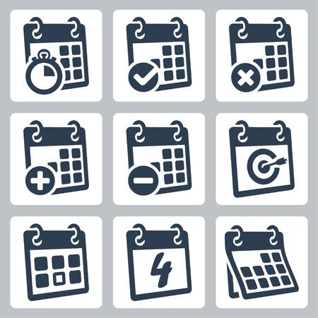 horarios: Vector aislados iconos del calendario establecidos Vectores