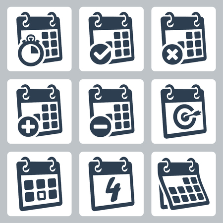 Vector isolated calendar icons set Illustration