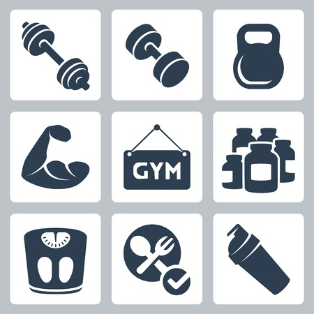 strength: Vector isolated bodybuilding fitness icons set