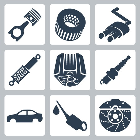 lubricator: Vector car parts icons set
