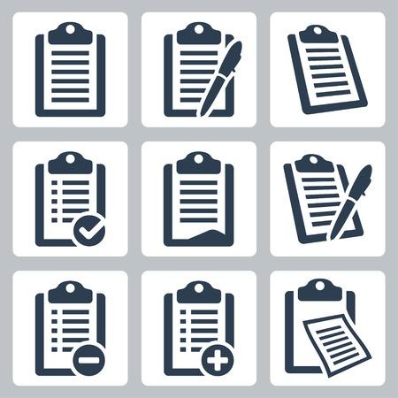 Vector geïsoleerd klembord, list icons set Vector Illustratie