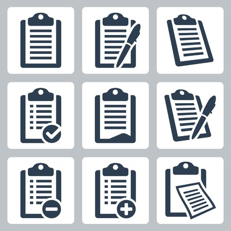 pad and pen: Vector isolated clipboard, list icons set