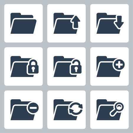 Vector isolated folder icons set Vector
