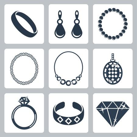 diamond jewelry: Vector icone isolate gioielli Set Vettoriali