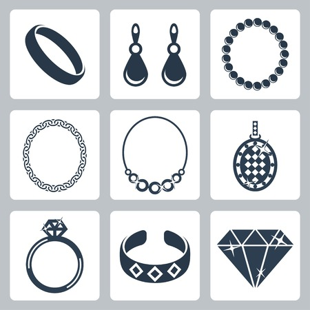fashion jewelry: Vector isolated jewelry icons set