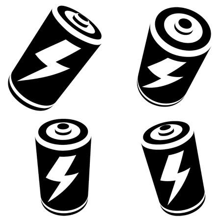 alternating current: battery silhouette on white background Illustration