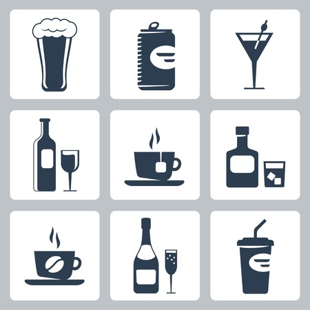 hot water bottle: isolated beverages icons set