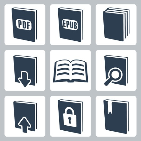isolated books icons set Vector