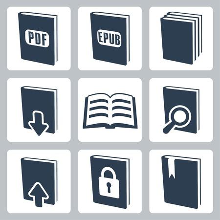 novels: isolated books icons set