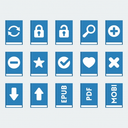 book icons set in flat style Vector