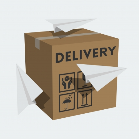 paper delivery person: package box and paper planes Illustration
