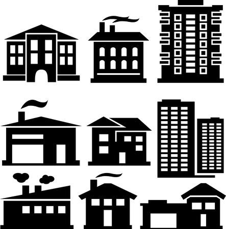 set of various buildings Vector