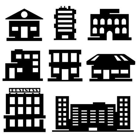 architecture pictogram: set of various buildings