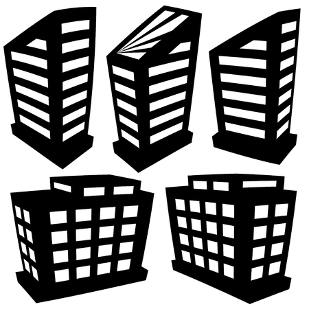 buildings silhouettes on white background Vector
