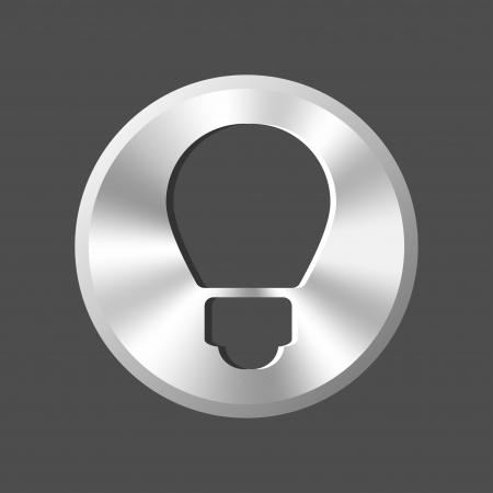 metal light bulb icon: metal light bulb button