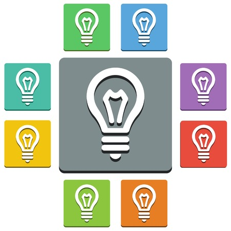 yellow bulb: Vector bulb icons - almost flat style - 9 colors Illustration