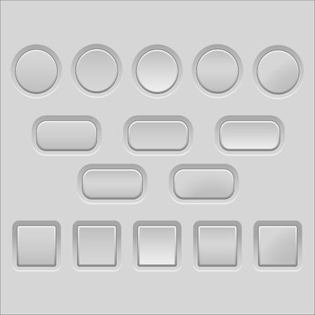 light grey empty buttons Vector