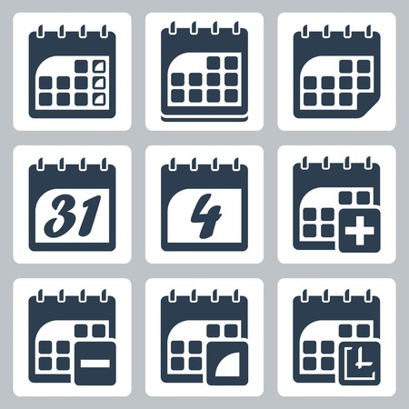 isolated calendar icons set Vector