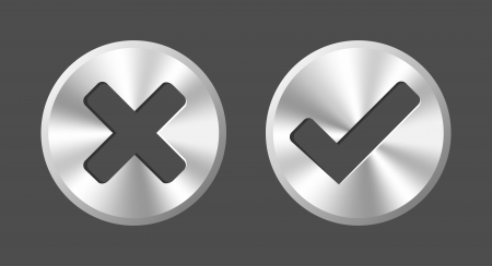 ok button: OK and Cancel round metal web buttons