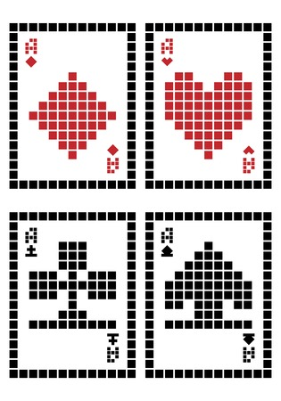 Pixel playing cards - aces Vector