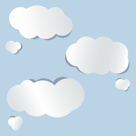 paper clouds on blue background Vector