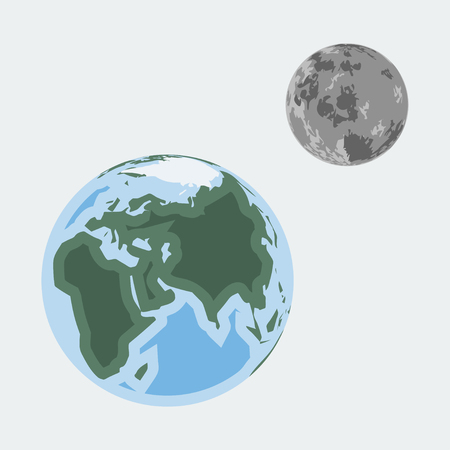 layered sphere: Vector earth and moon in flat style