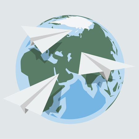 Vector globe and paper planes  in flat style Vector