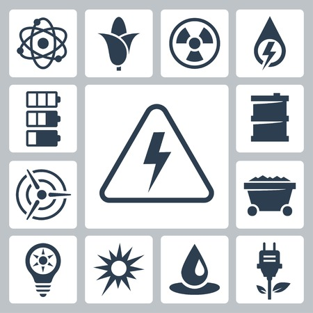 Vector isolated energy icons set Vector