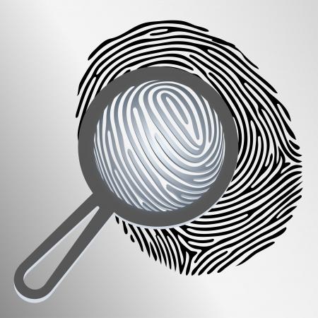 Vector magnifying glass examining fingerprint isolated Vector