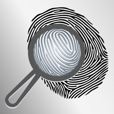examining: Vector magnifying glass examining fingerprint isolated