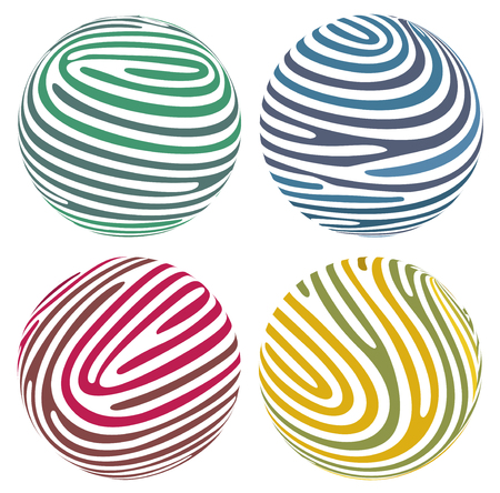 Vector globes composed of fingerprint-like stripes Stock Vector - 23520216