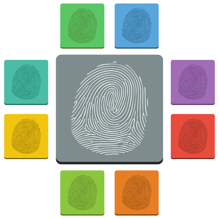 Vectorfingerprint icons - almost flat style - 9 colors Vector