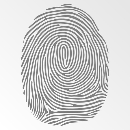 fingermark: Vector dark fingerprint on gray background