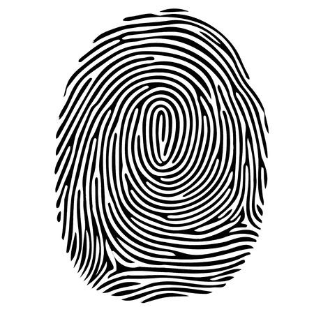 Vector schwarz isoliert Fingerabdruck auf weißem Hintergrund