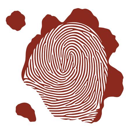 finger proof: Vector isolated blood fingerprint on white background Illustration