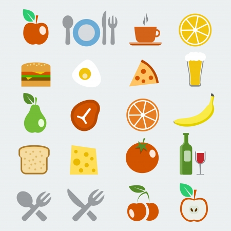 continental food: Vector food icons set in flat style