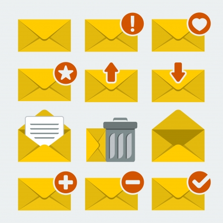 unread: Vector mail icons set in flat style