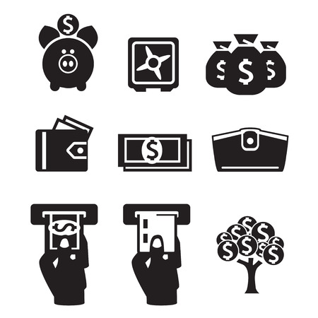 money tree: Money icons vector set
